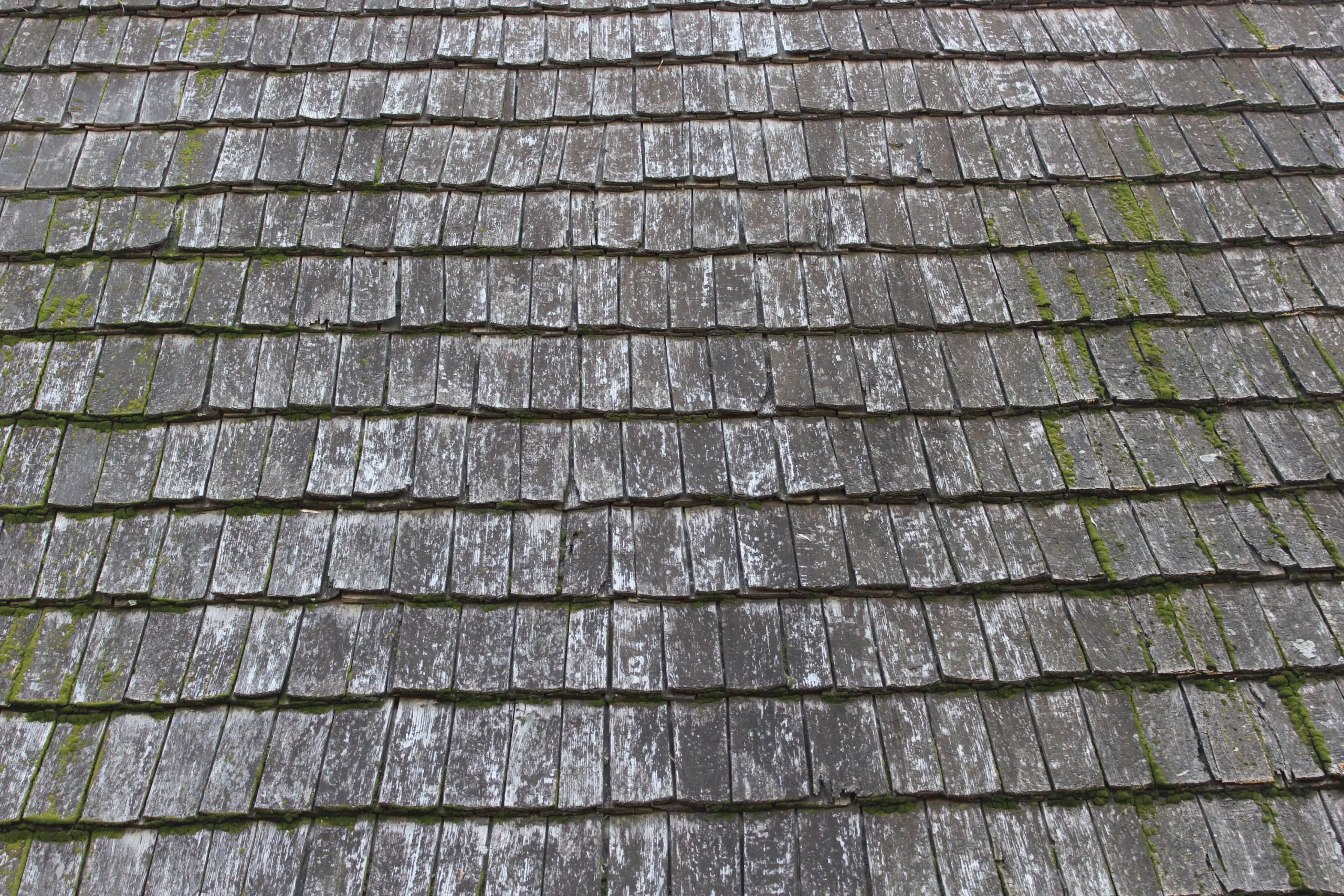 Deteriorated roof shingles scaled