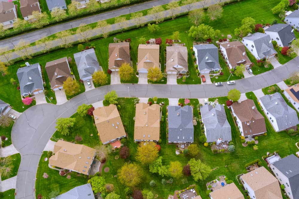 View from the sky of the roofs of houses