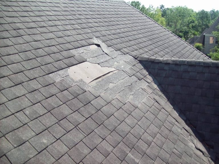 Roof damaged from the outside