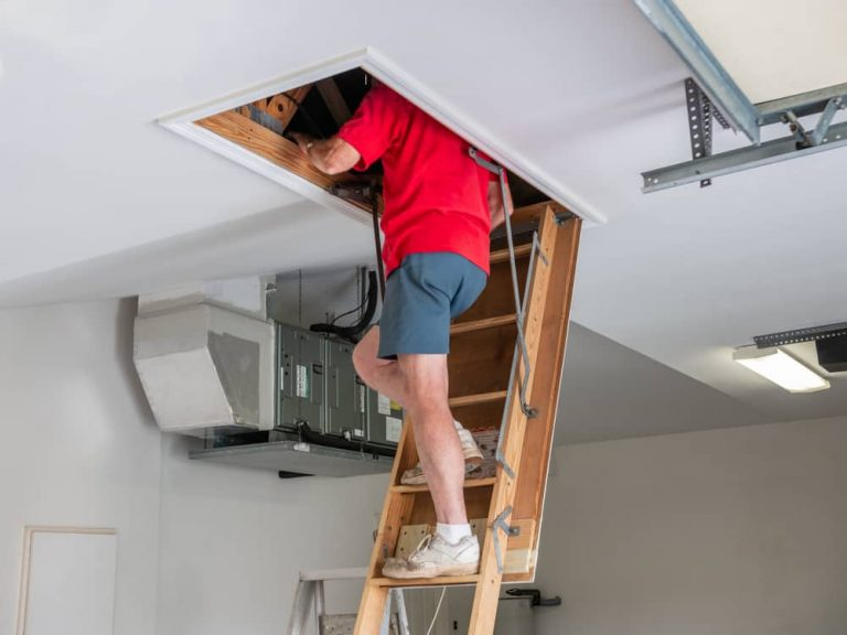 homeowner climbing stairs to attic